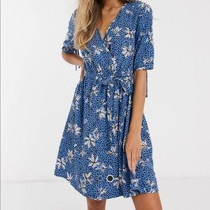 ASOS Blue Floral Print Wrap Summer Dress